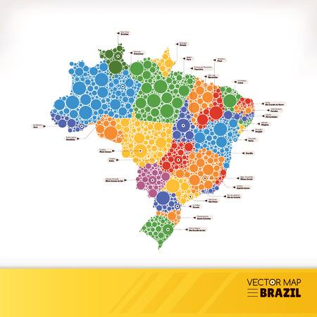 Map of Brazil illustration Vector