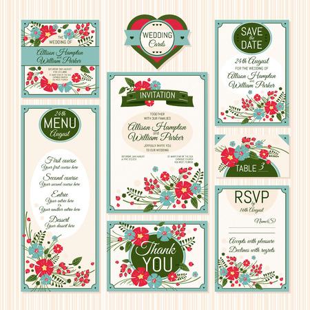 結婚式のカードのセットです。結婚式招待状、礼状、日付カード、テーブル カード、RSVP カード、メニューを保存します。 写真素材 - 30518343