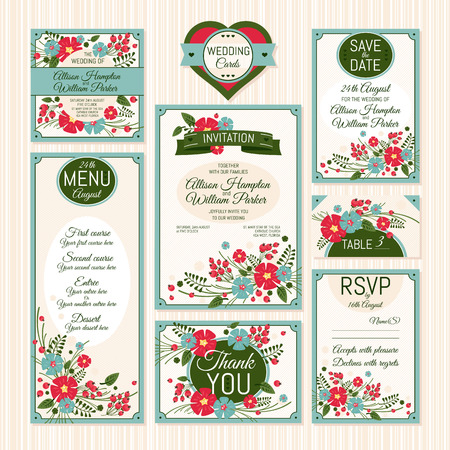 royal family: Set of wedding cards. Wedding invitations, Thank you card, Save the date card, Table card, RSVP card and Menu.