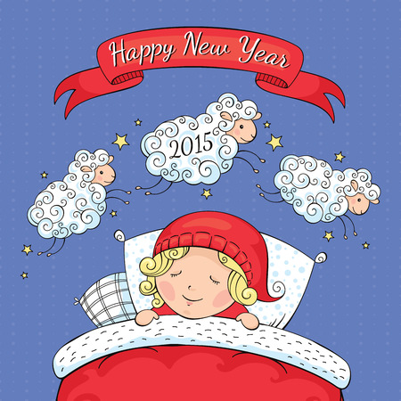 New year greeting card with sheep and child vector illustration  Vector