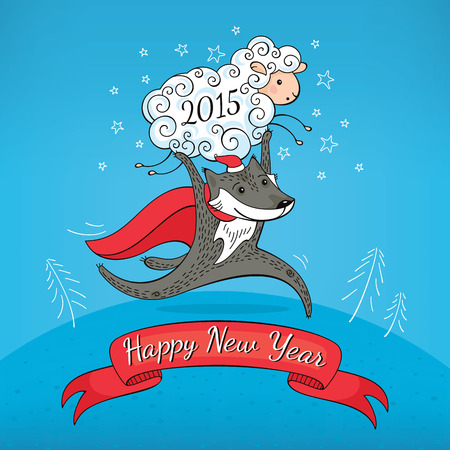 New year greeting card with sheep and wolf vector illustration Vector