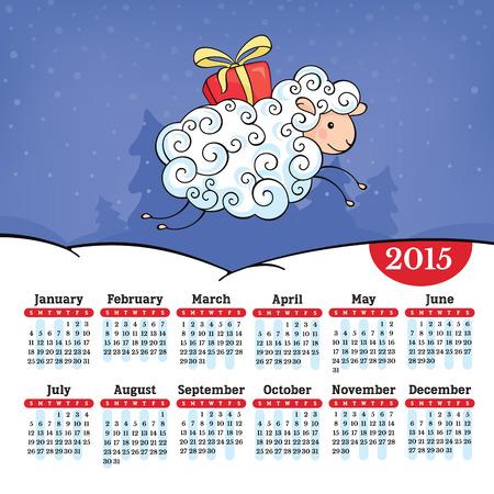 Year of the sheep 2015 calendar vector illustration Vector