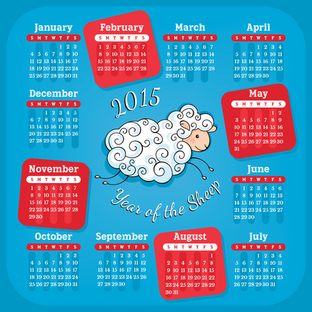 Year of the sheep 2015 calendar vector illustration
