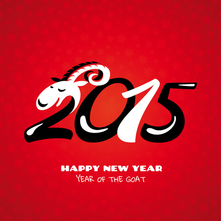 Chinese new year card with goat vector illustration Vector
