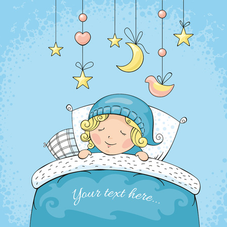cartoon bed: Adorable sleeping child vector illustration