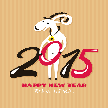 New year greeting card with goat vector illustration Vector