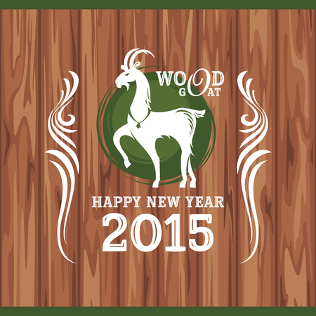 New year greeting card with goat illustration Vector