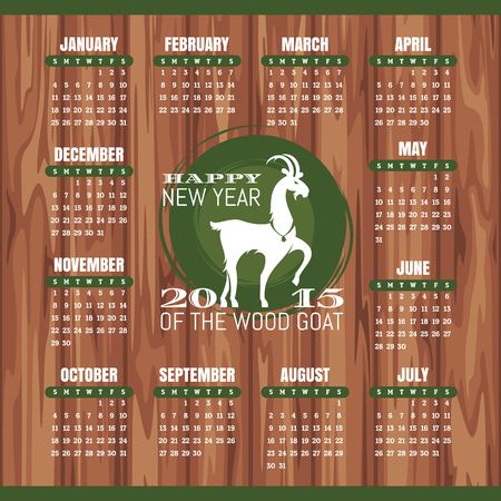 Year of the goat 2015 calendar illustration Vector