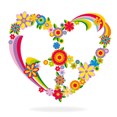 flower power: Peace heart sign made of flowers vector illustration
