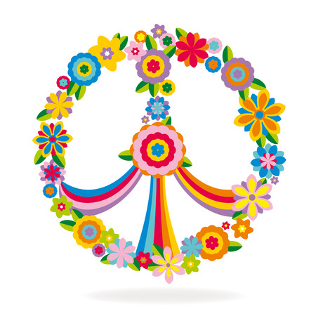 symbol decorative: Peace sign made of flowers vector illustration