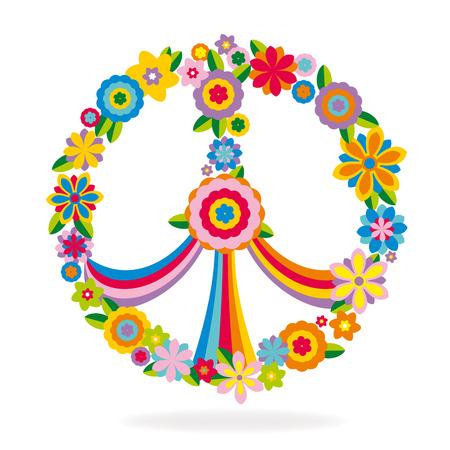 flower art: Segno di pace fatta di fiori, illustrazione vettoriale