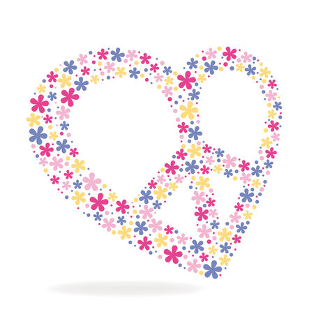vintage power: Peace heart sign made of flowers vector illustration