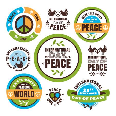 paloma de la paz: Conjunto de etiquetas de vectores para el D�a Internacional de la Paz Vectores