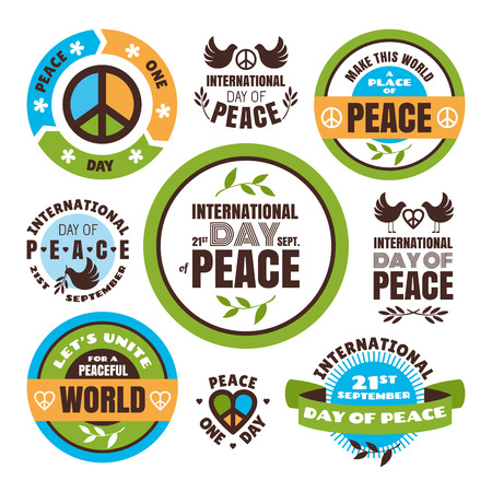 Set of vector labels for the International Day of Peace Vector
