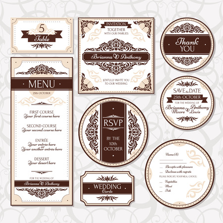 royal family: Set of floral wedding cards vector illustration