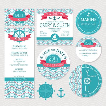 Set of marine wedding cards vector illustration Vector