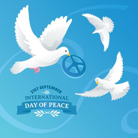 paloma de la paz: D�a Internacional de la ilustraci�n vectorial de la Paz Vectores