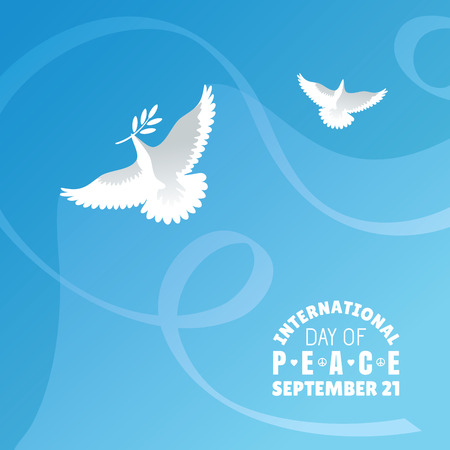 dove of peace: International Day of Peace background vector illustration Illustration