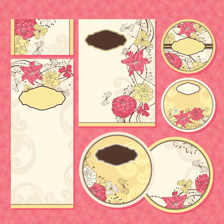 royal family: Set of floral wedding cards vector illustration without sample text
