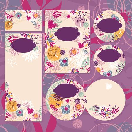 Set Blumenhochzeitskarten Vektor-Illustration ohne Beispieltext Standard-Bild - 33569188