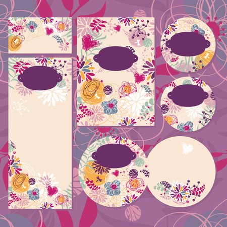 Set of floral wedding cards vector illustration without sample text