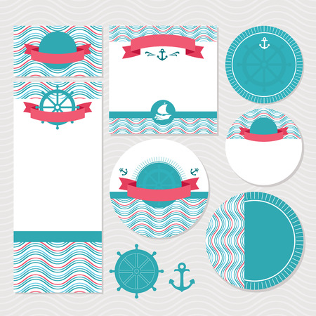 Set of marine wedding cards vector illustration without sample text