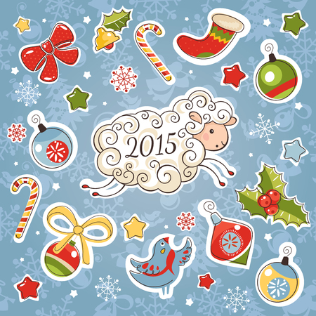 decoration elements: New year card with sheep and decoration elements vector illustration