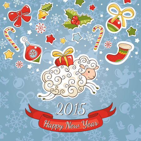 New year greeting card with sheep vector illustration Vector