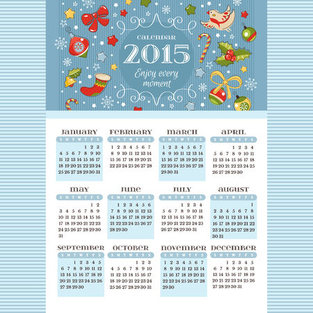 decoration elements: 2015 calendar with decoration elements vector illustration