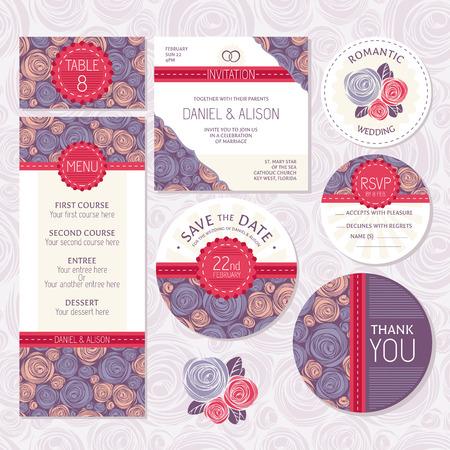 anniversario matrimonio: Set di floreale carte di nozze illustrazione vettoriale Vettoriali