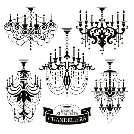 chandelier: Set of chandelier silhouettes vector illustration