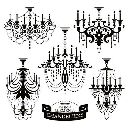 Set van kroonluchter silhouetten vector illustratie Stock Illustratie