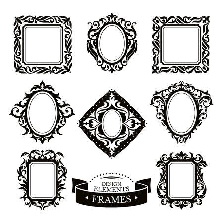 victorian fashion: Set of vintage baroque frames vector illustration