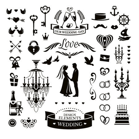 Vector collection of wedding icons and elements Çizim