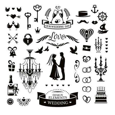 ślub: Wektor kolekcji ikon i elementów ślubnych Ilustracja