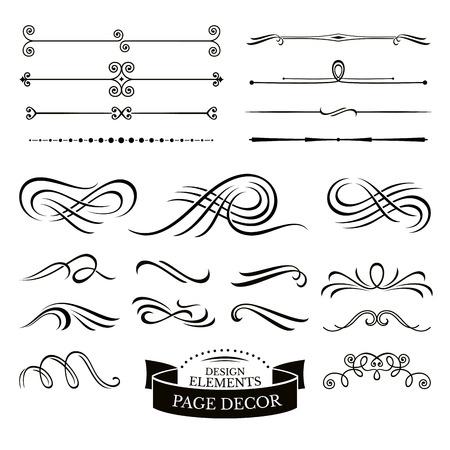 Set van kalligrafische design elementen en pagina decoratie vector illustratie Stock Illustratie