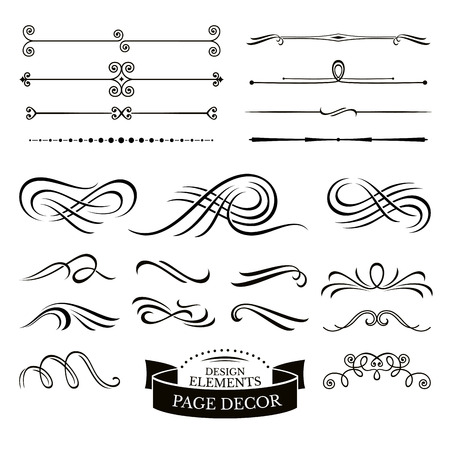 Set of calligraphic design elements and page decoration vector illustration