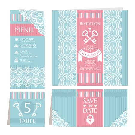 Set of vintage wedding cards vector illustration