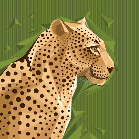 Portrait of a leopard on abstract background vector illustration