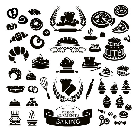 bakery products: Set of bakery design elements and icons vector illustration