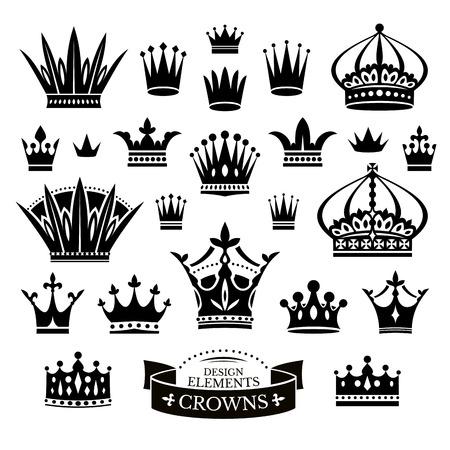 corona de princesa: Conjunto de varias coronas aisladas en blanco ilustración vectorial Vectores