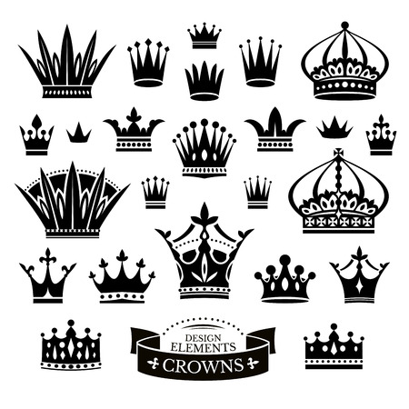 corona reina: Conjunto de varias coronas aisladas en blanco ilustración vectorial Vectores