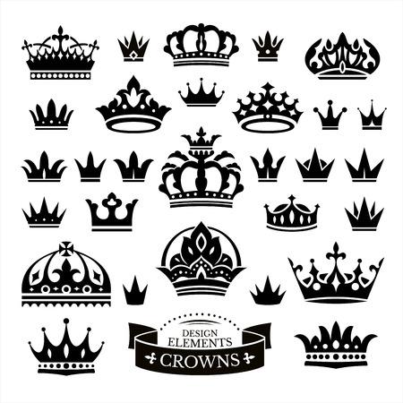 couronne royale: Ensemble de différentes couronnes isolé sur blanc illustration vectorielle Illustration