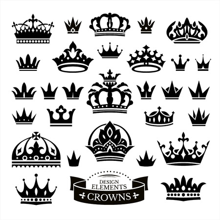 crown silhouette: Set of various crowns isolated on white vector illustration Illustration