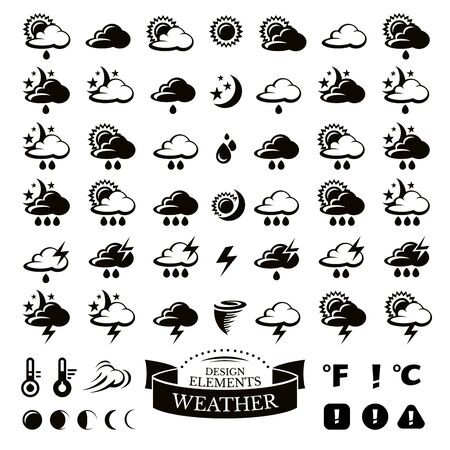 partly sunny: Collection of different weather icons vector illustration