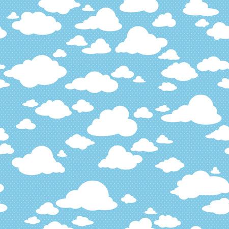 blau: Blauer Himmel mit Wolken, Vektor nahtlose Muster