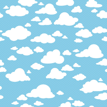 blue white: Blue sky with clouds, vector seamless pattern Illustration