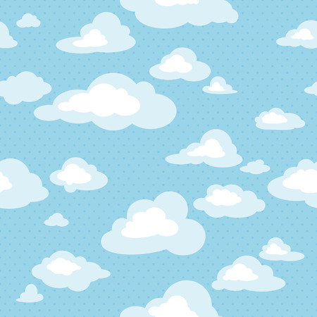 Blue sky with clouds, vector seamless pattern Stock Illustratie