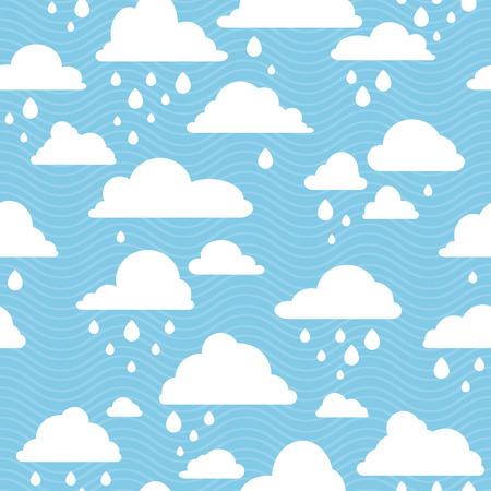 rainy sky: Cielo azul con nubes de lluvia, vector sin fisuras patr�n Vectores