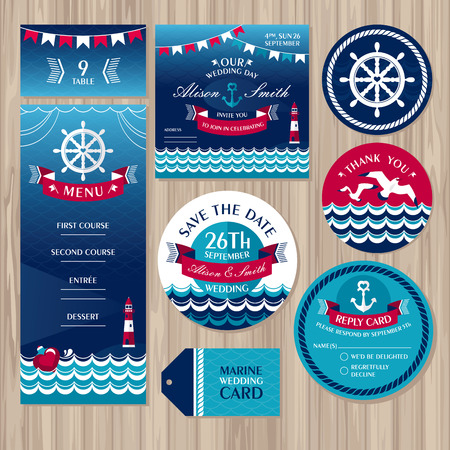 a wedding: Set of marine wedding cards illustration
